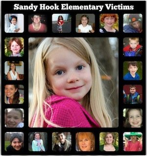 21 faces of the 27 victims of the Newtown, CT massacre. (Photo source unknown.)