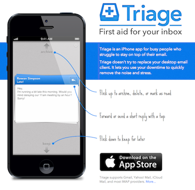If email seems overwhelming and hard to manage on your smart phone, try Triage out.  It's given me a lot of focus.